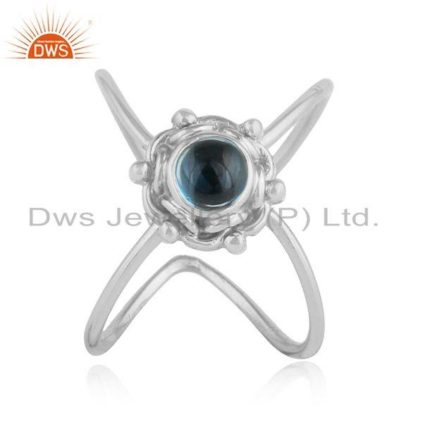Blue Topaz Gemstone Oxidized Sterling Silver Womens Designer Rings
