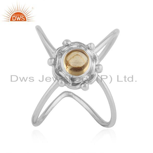 Natural Citrine Gemstone 92.5 Silver Oxidized Finish Ring Jewelry