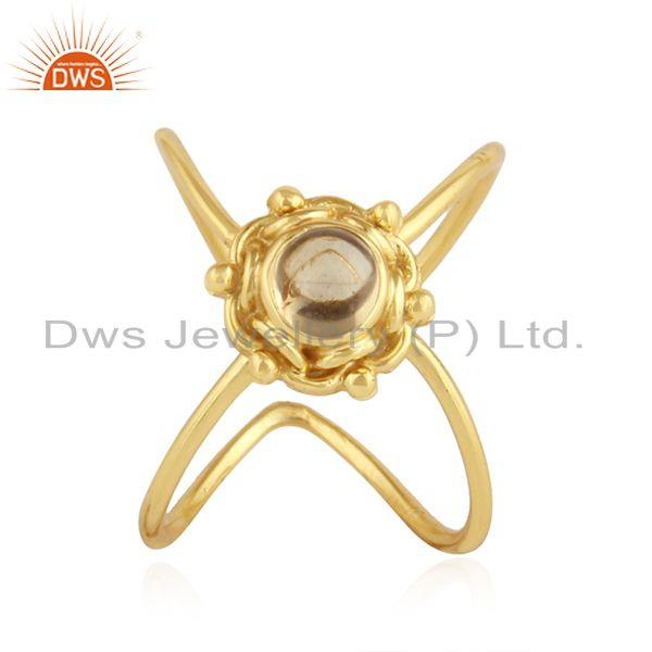 18k Yellow Gold Plated Silver Citrine Gemstone Ring Jewelry For Womens