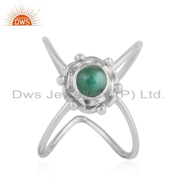 Natural Emerald Gemstone Oxidized Designer 92.5 Silver Ring Jewelry