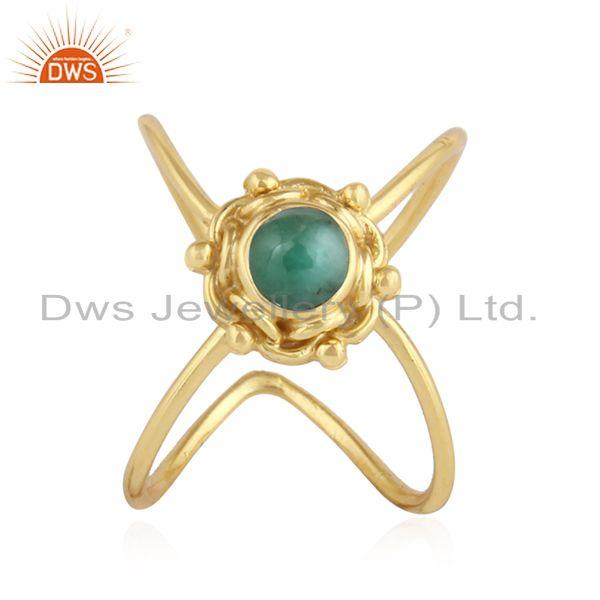 Natural Emerald Gemstone Gold Plated Designer 92.5 Silver Ring Jewelry