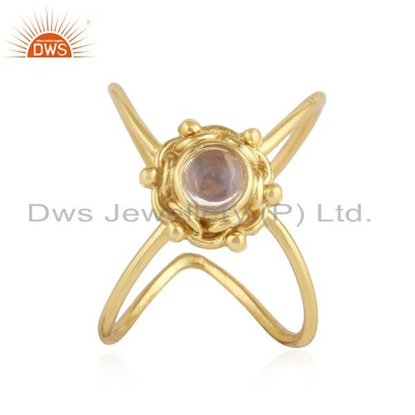 Ethiopian Opal Gemstone Gold Plated Designer 92.5 Silver Ring Jewelry
