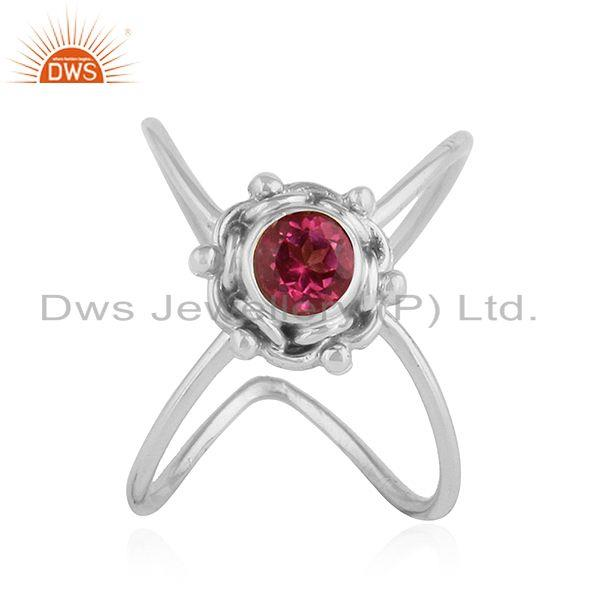 Pink Topaz Gemstone Stackable Oxidized Sterling Silver Ring Jewelry
