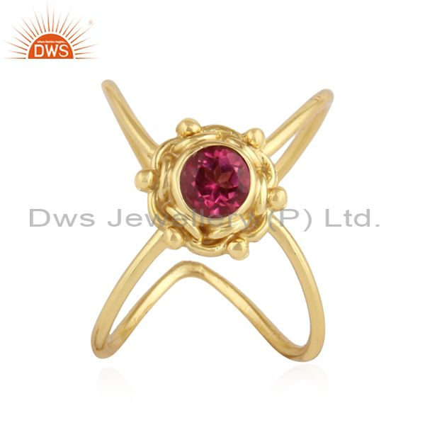 Pink Topaz Gemstone Yellow Gold Plated Handmade 925 Silver Rings