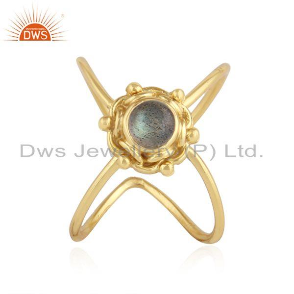 Natural Labradorite Gemstone Designer 925 Silver Gold Plated Rings