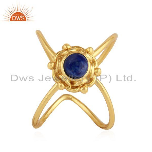 Natural Lapis Lazuli Gemstone Yellow Gold Plated Silver Ring Jewelry