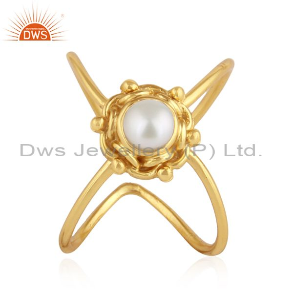 Natura Pearl Gemstone Handmade Design Gold Plated Silver Ring Jewelry