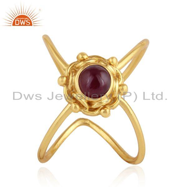 Natural Ruby Gemstone Designer Gold Plated Silver Womens Rings Jewelry