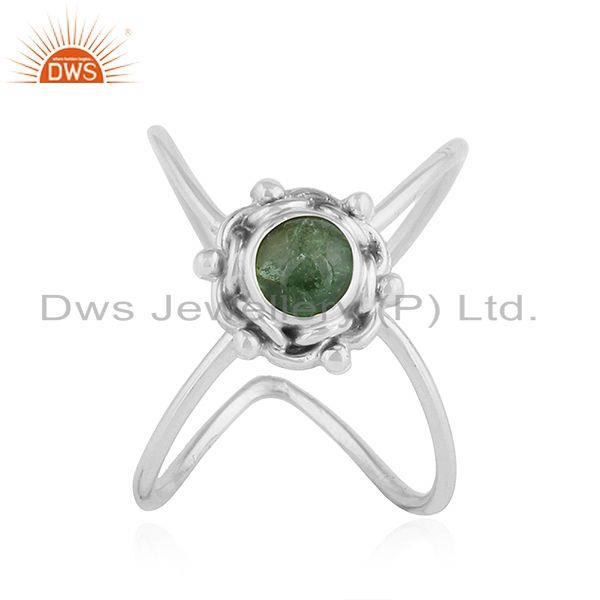Green Tourmaline Gemstone New Sterling Silver Oxidized Ring Jewelry