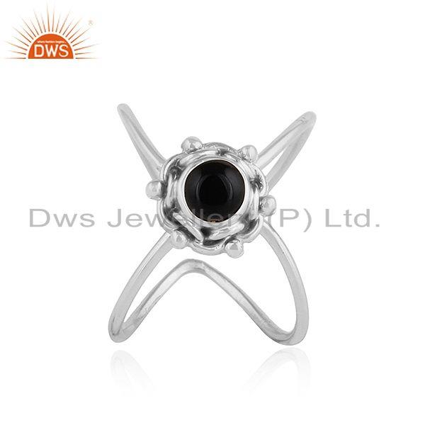 Black Onyx Gemstone Handmade Design Oxidized Sterling Silver Rings