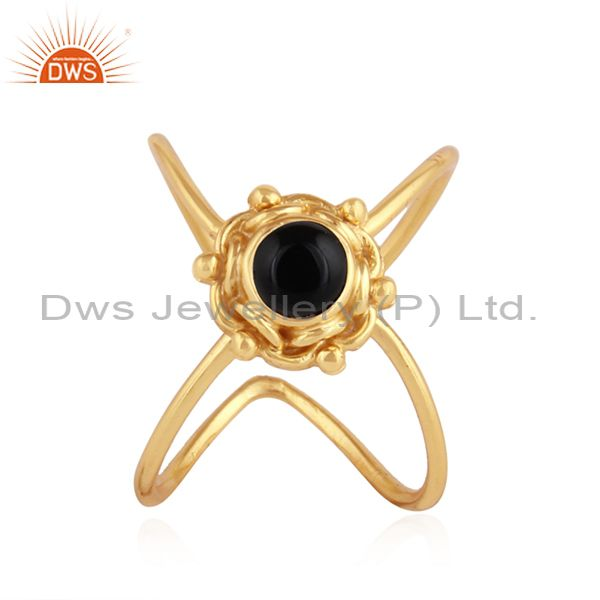 Natural Black Onyx Gemstone Yellow Gold Plated Silver Ring Jewelry