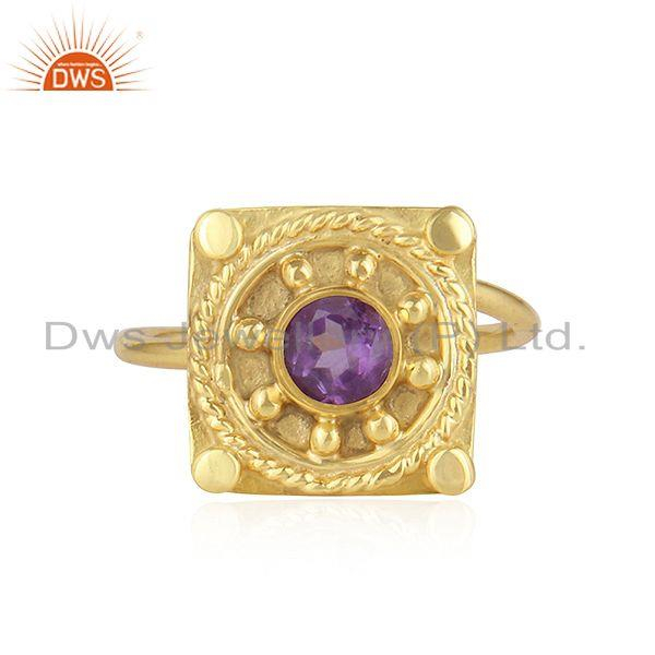 22k Gold Plated Vintage Design Silver Natural Amethyst Ring Jewelry