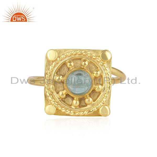 Apatite Gemstone Designer Yellow Gold Plated 925 Silver Ring Jewelry