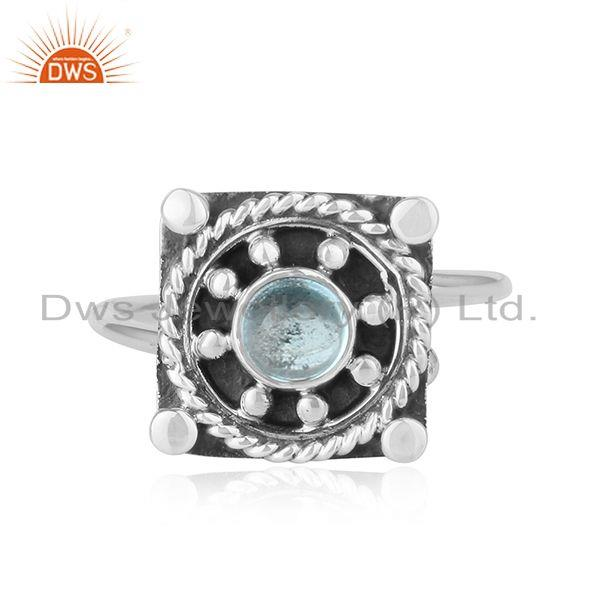 Blue Topaz Gemstone Antique Oxidized Silver Ring Jewelry For  Girls