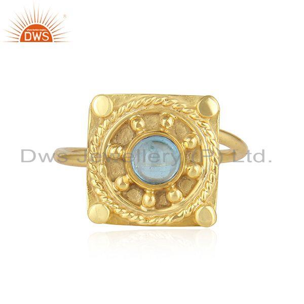 Vintage Designer Yellow Gold Plated 925 Silver Blue Topaz Ring Jewelry