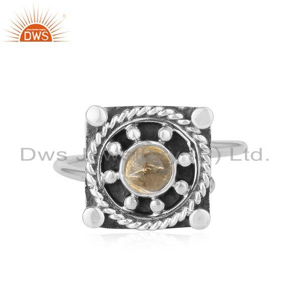 Citrine Gemstone Oxidized Sterling Silver Vintage Design Ring Jewelry