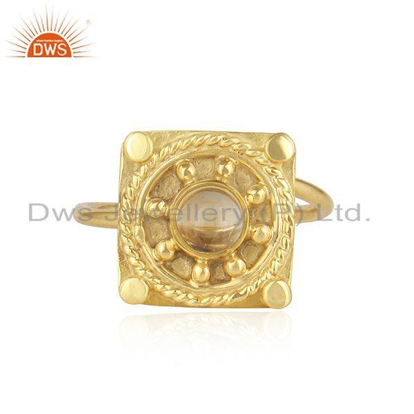 New Arrival 18k Gold Plated Designer Silver Citrine Gemstone Rings