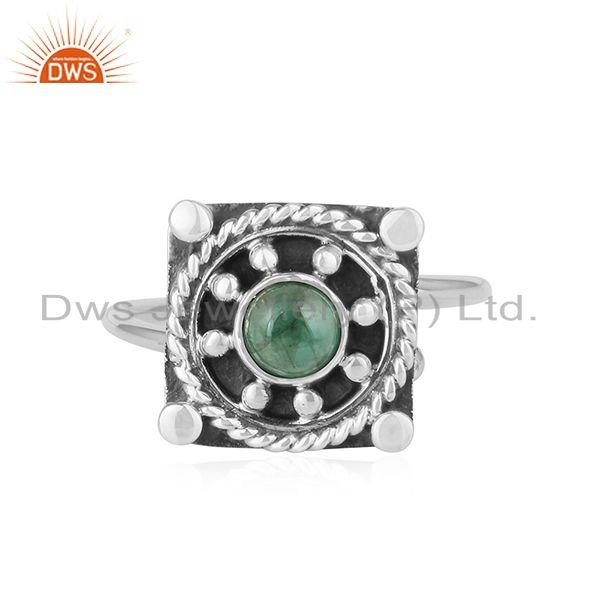 Natural Emerald Gemstone Antique 925 Silver Oxidized Ring Jewelry