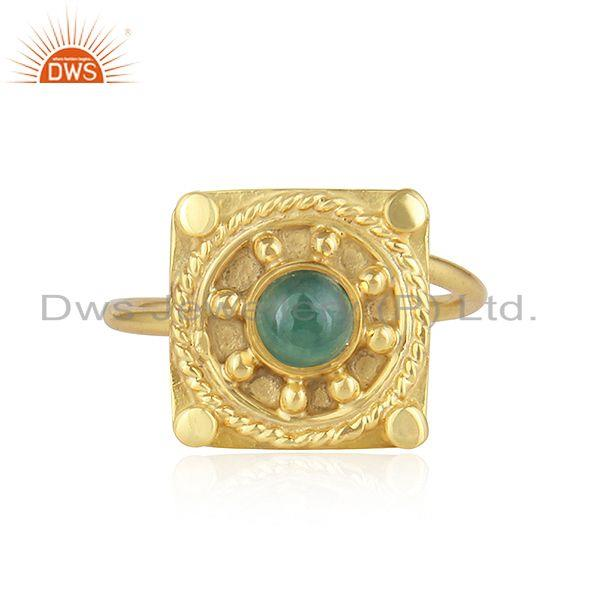 Handamde Yellow Gold Plated Silver Natural Emerald Gemstone Rings