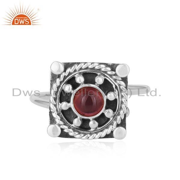 Natural Garnet Vintage Design Sterling Silver Oxidized Ring For Womens