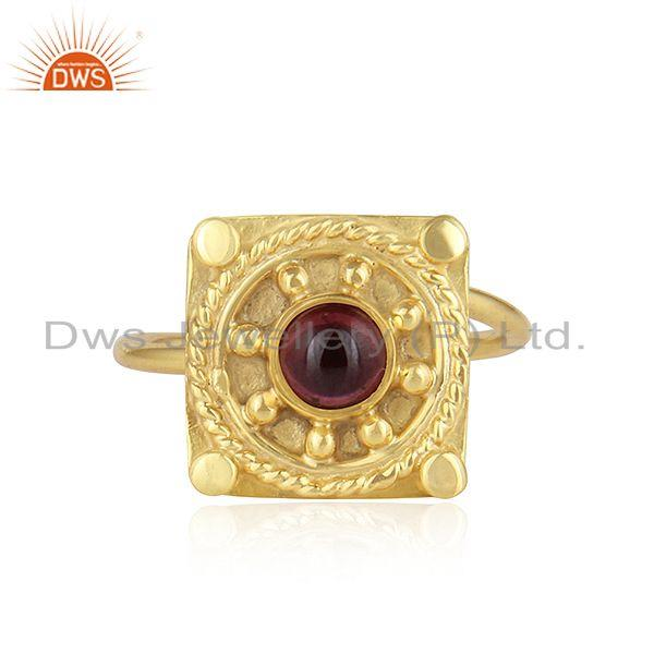 Natural Garnet Gemstone Gold Plated Vintage Designer Silver Rings