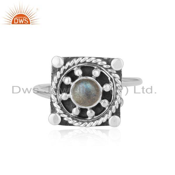 Labradorite Gemstone Handmade Antique Silver Oxidized Ring Jewelry