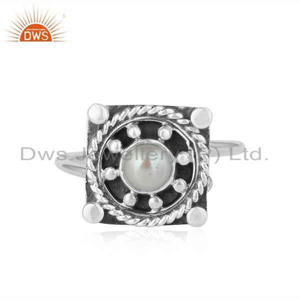 Oxidized Plated 92.5 Silver Natural Pearl Gemstone Ring Jewelry