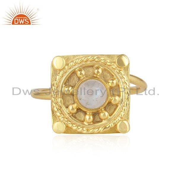 Rainbow Moonstone Designer Yellow Gold Plated 925 Silver Ring Jewelry