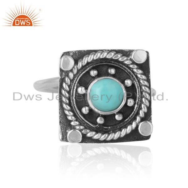 Designer handmade ring in oxidized silver and arizona turquoise