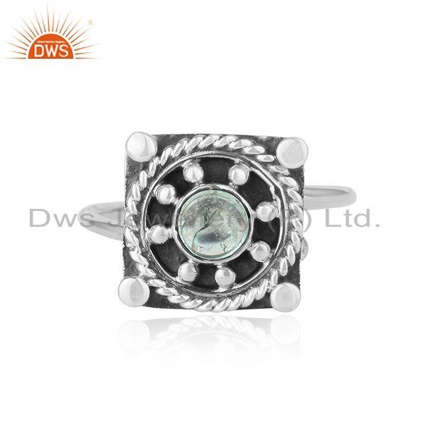 Green Tourmaline New Look 925 Sterling Silver Oxidized Ring Jewelry