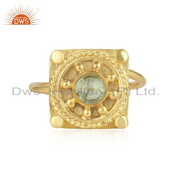 Green Tourmaline Gemstone Yellow Gold Plated Silver Designer Rings