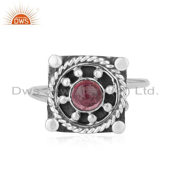Natural Pink Tourmaline Gemstone Oxidized Silver Antique Ring Jewelry