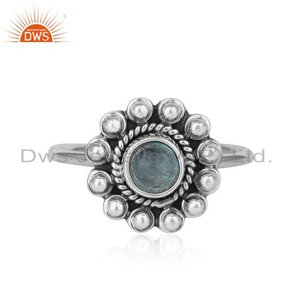 Apatite Gemstone Round Stackable Sterling Silver Oxidized Ring Jewelry