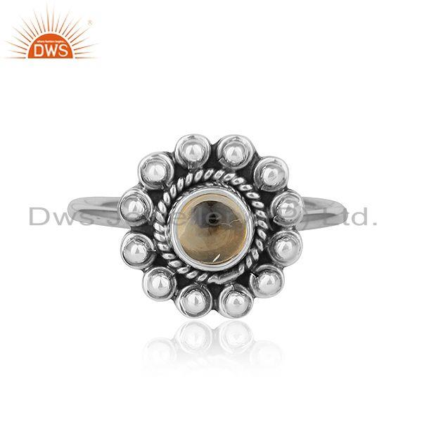Natural Citrine Gemstone Designer Oxidized Antique Silver Ring Jewelry