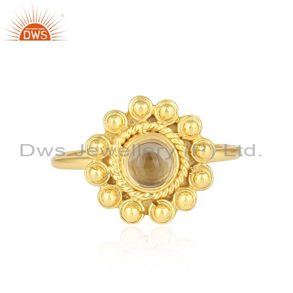 Beautiful Round Design Gold Plated 925 Silver Citrine Gemstone Rings