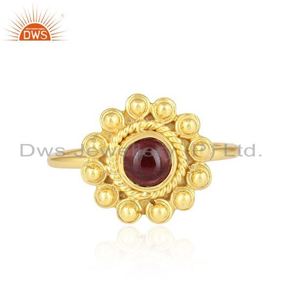 Garnet Gemstone Designer 22k Gold Plated 925 Silver Stackable Rings