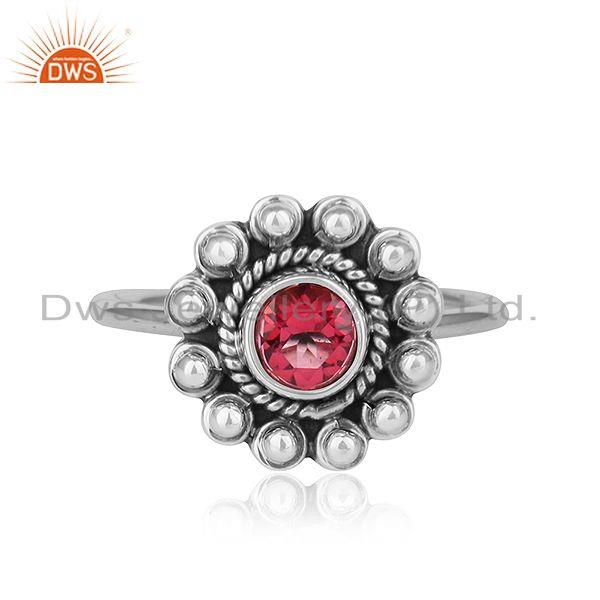Pink Topaz Gemstone Womens Antique Oxidized Silver Ring Jewelry