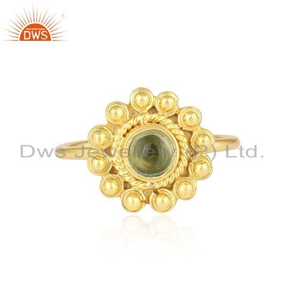 Peridot Gemstone Womens Yellow Gold Plated Designer 925 Silver Rings