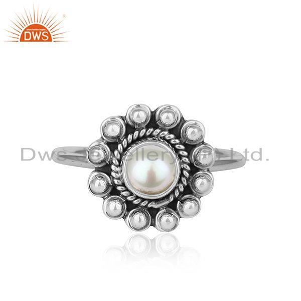 Natural Pearl Gemstone Designer Oxidized Antique Silver Ring Jewelry
