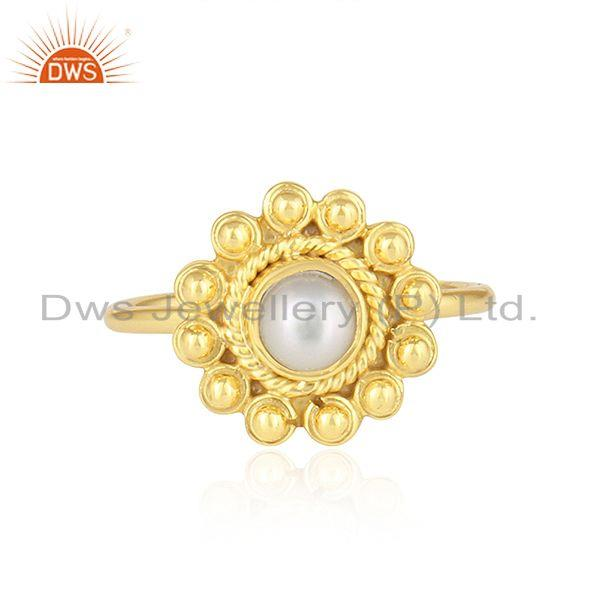 Round Design 18k Yellow Gold Plated Silver Natural Pearl Ring Jewelry