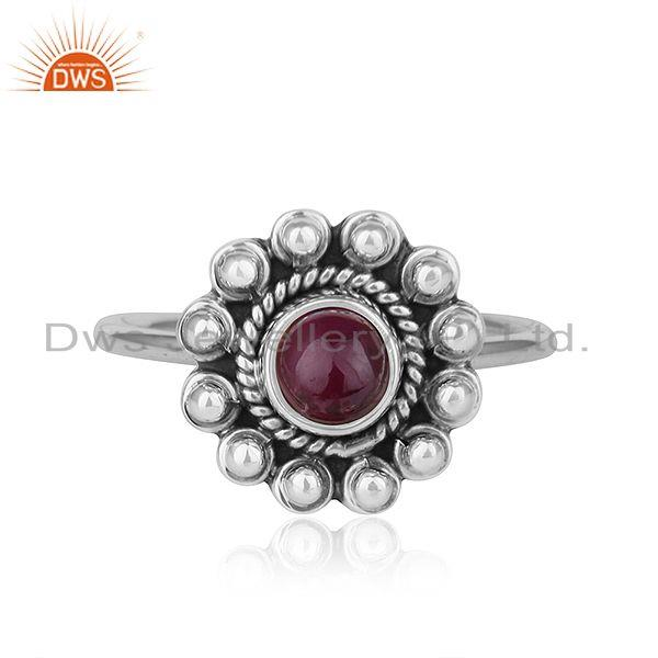 Natural Ruby Gemstone New look Antique Oxidized Plated Silver Rings