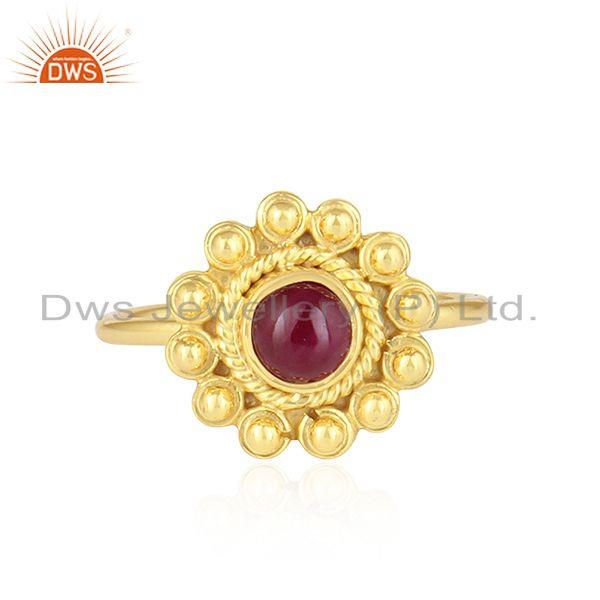Flower Design 18k Gold Plated Silver Natural Ruby Gemstone Rings