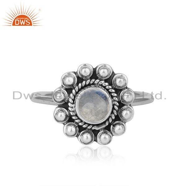 Rainbow Moonstone Gemstone Oxidized Plated Silver Rings For Womens