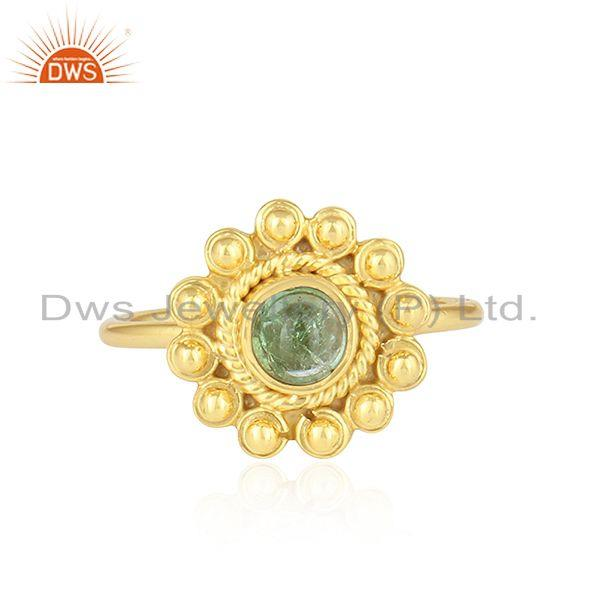 Green Tourmaline Gemstone 18k Gold Plated Designer Silver Rings
