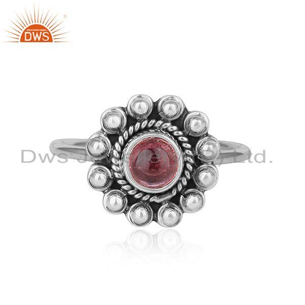 Flower Designer Oxidized Plated Silver Pink Tourmaline Gemstone Rings
