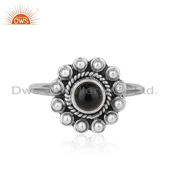 Black Onyx Gemstone Womens Flower Designer Oxidized Silver Rings