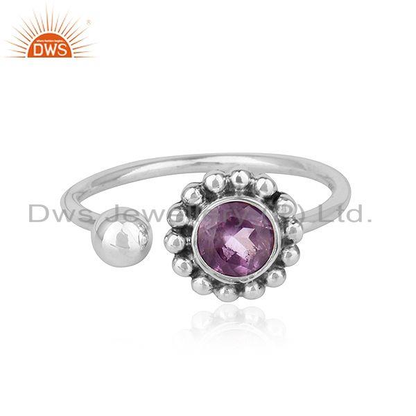 Amethyst Gemstone Handmade Design 925 Silver Oxidized Ring Jewelry