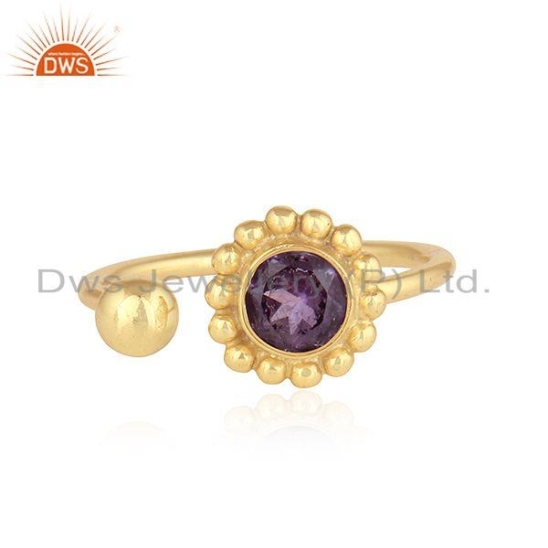 New Yellow Gold Plated 925 Silver Natural Amethyst Gemstone Rings