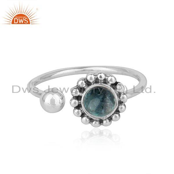 Apatite Gemstone Flower Design Oxidized Finish Sterling Silver Rings