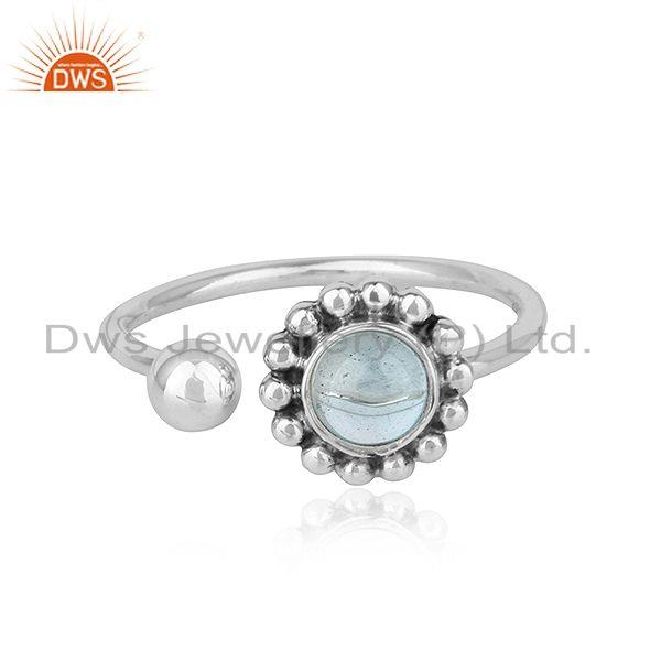 Blue Topaz Gemstone Oxidized Finish 925 Silver Flower Design Rings